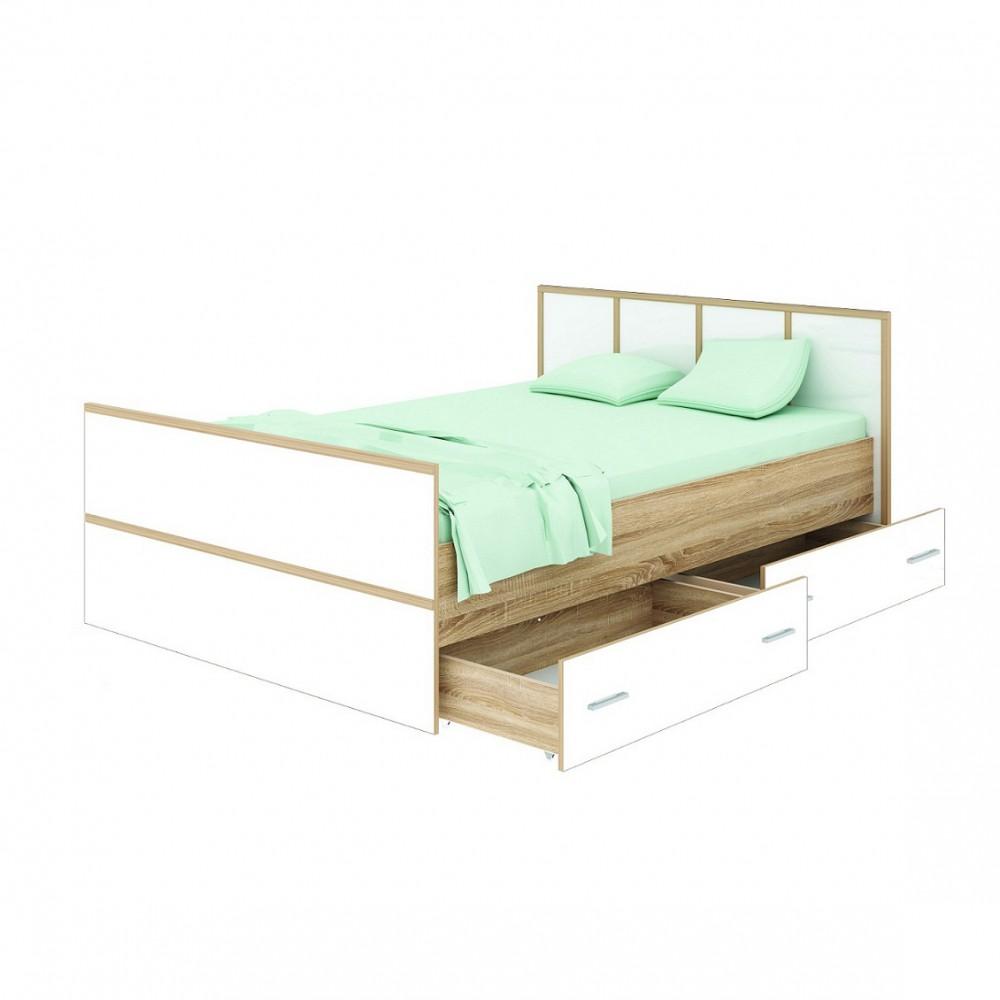 """Кровать """"Сакура"""" 1,4 м (2 ящика) + матрас"""