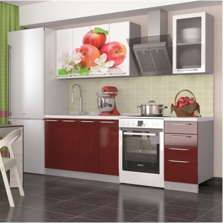 """Кухня """"Олива Красные яблоки"""" 1,6м"""