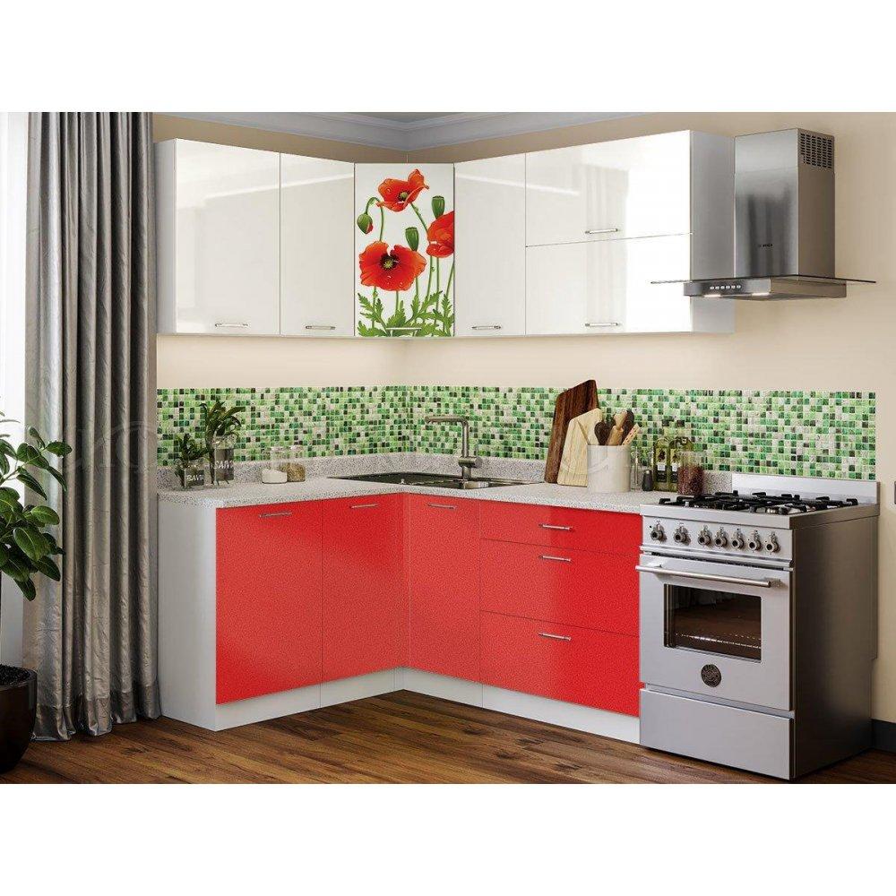"""Кухня угловая с фотопечатью """"Маки"""" 1500х1800"""