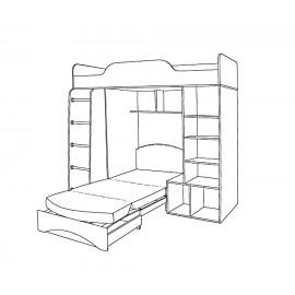 """Кровать-чердак """"Тетрис"""" с диваном"""